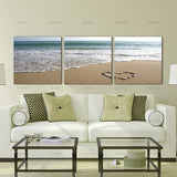 Wall Art Picture Canvas Paintings 3 Panels Canvas Photo Prints on Beach Heart Shaped Stone