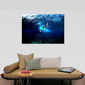 HD Printed 1 Piece Beauty Surfing in Deep Blue Ocean Canvas Prints Swimming Girl Wall Pictures For Kids Room Posters and Prints