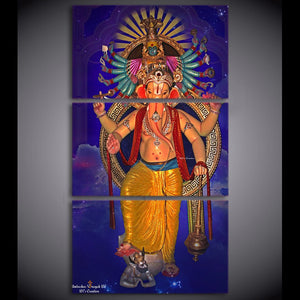 HD Print 3 Piece Painting Modular Hindu God Ganesha Elephant Decor Picture Printed Canvas Prints