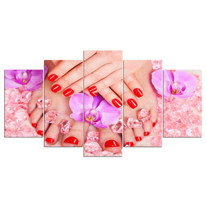 5 Panel Canvas Art Beauty Salon Poster Paintings Nail Art Poster Wall Decor Poster Pictures