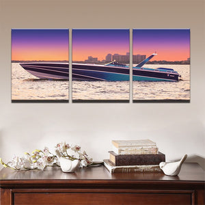 Pictures Canvas Oil Modern Poster Hd Printed Wall Art 3 Pieces Home Decor Sunset Yacht Ship Boat Seascape Painting