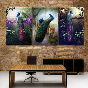 Print Painting Modular Feather HD Framework 3 Panel Peacock Combination Canvas Wall Art Poster Room Picture