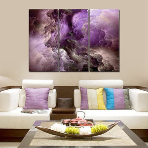 Purple Abstract Psychedelic Art Space Cloud Canvas Painting Wall Decor 3 Pieces Poster Art Print  Art