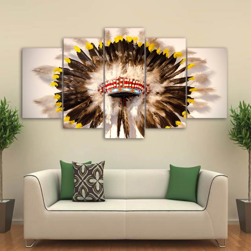 HD Printed 5 Piece Canvas Art Native American Indian hat Feathered Poster Wall Picture Modern Home Wall Art Decor Print