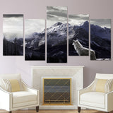 5 Pieces Snow Mountain Plateau Wolf Paintings Animal Canvas Wall Art Living Room Pictures Posters Print