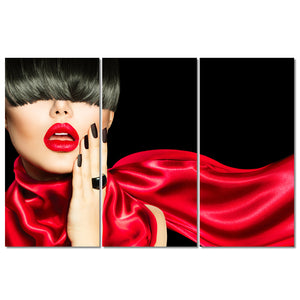 HD Print 3 Piece Painting Sexy Woman Lip Hair Wall Picture Manicure Poster Hair Salon Poster Decor Canvas Art
