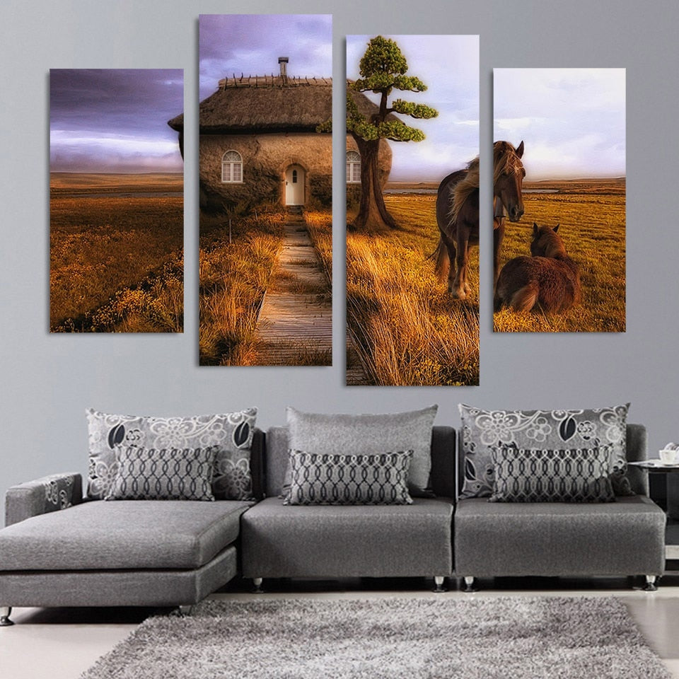 4 Panel Canvas Art Painting Couple Horse Small House HD Printed Wall Art Poster Home Decor Picture