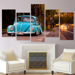 HD 5 Pieces Canvas Paintings Printed Blue Classic Vintage Beetle Car Wall Decorations Poster