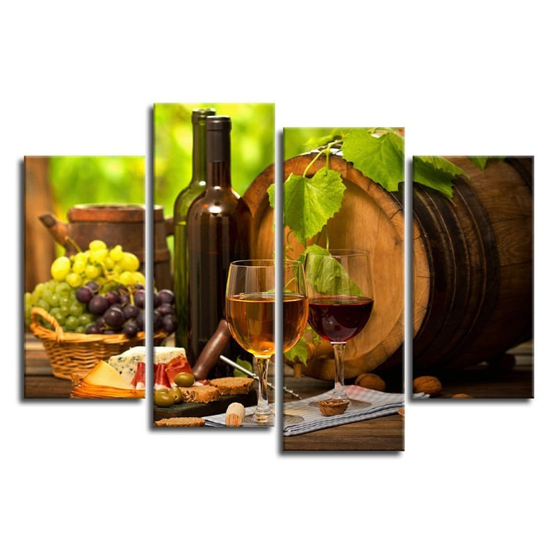 Kitchen Wall Art Canvas Prints Grapes Wines Fruits Painting Print on Canvas 4 Piece Art Artwork