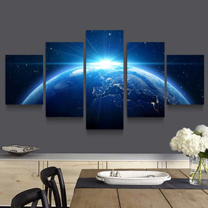 HD Print 5 Piece Canvas Painting Universe Planet Earth Scenery Poster Living Room