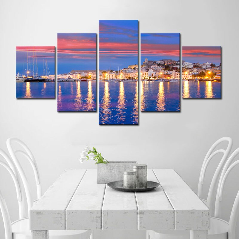HD Print 5 Piece Canvas Painting Night Seaside City Scenery Poster Living Room Home Decoration