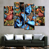Home Decor Canvas HD Prints Modular Picture Posters 4 Pieces Lord Krishna Hindu Religion Painting Wall Art