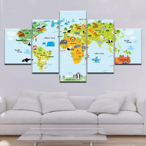 World Map Nurseries 5 Piece Wallpapers Modular Poster Art Canvas Painting Living Room Children's