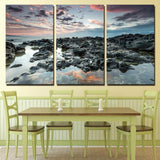 3 Panels Canvas Art Coast Rocks Cloudy Home Decoration Wall Art Painting Canvas Prints Pictures Living Room Poster