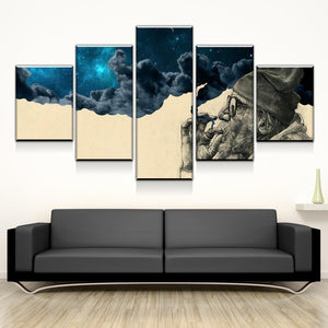 HD Printed 5 Piece Canvas Art Smoke and Wonder Old Beard Man Prints Vintage Wall Pictures