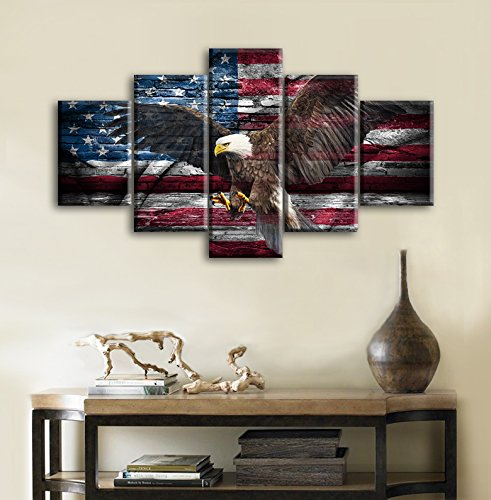 Retro Bald Eagle USA US American Flag Military Canvas Prints Wall Art Independence Day Vintage Home