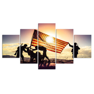 HD Printed 5 Piece Canvas Art Soldier Raise US Flag Army Sunset Painting Wall Pictures for Living Room Canvas Posters