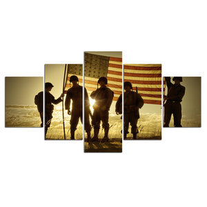 HD Printed 5 Piece Canvas Art Soldier Raise US Flag Army Sunset Painting Wall Pictures