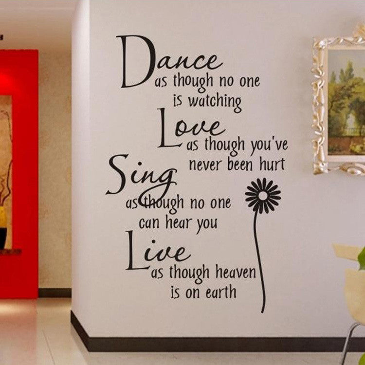 Home Decoration Dance Love Sing Live Wall Sticker Quotes Decals Removable Stickers Vinyl Art Stickers