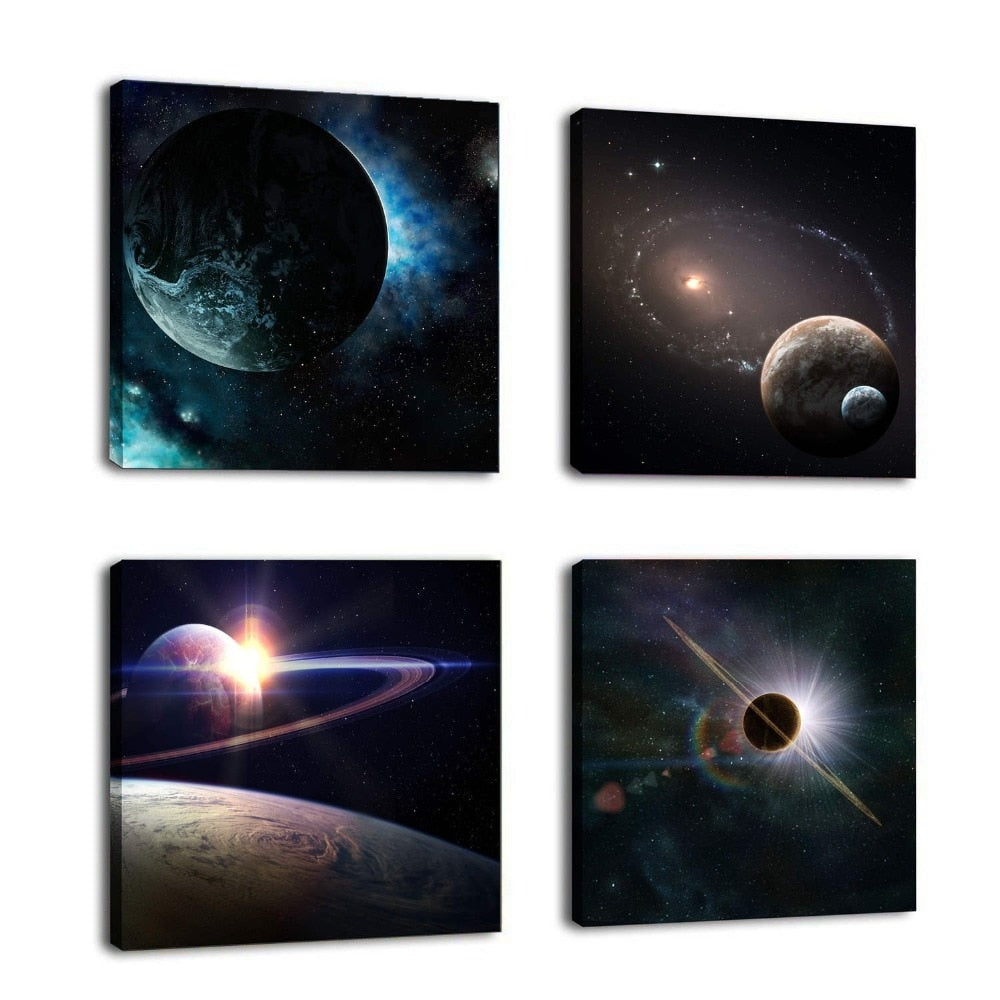 4 Piece Outer Space Plants Canvas Wall Art Photo Modular Landscape Wall Pictures Living Room Bedroom