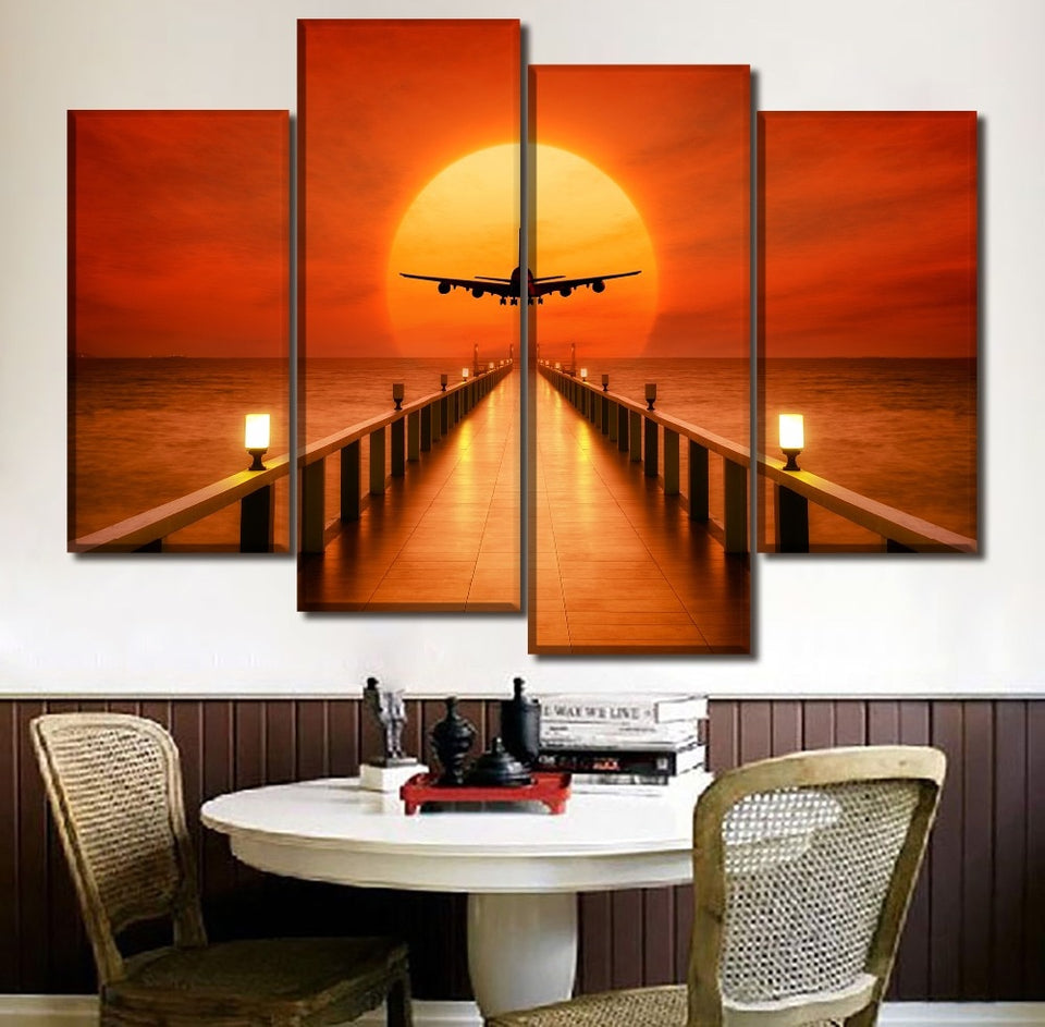Canvas Pictures Home Decor 4 Piece Horizon Sunset Landscape Airplane Poster Print Painting