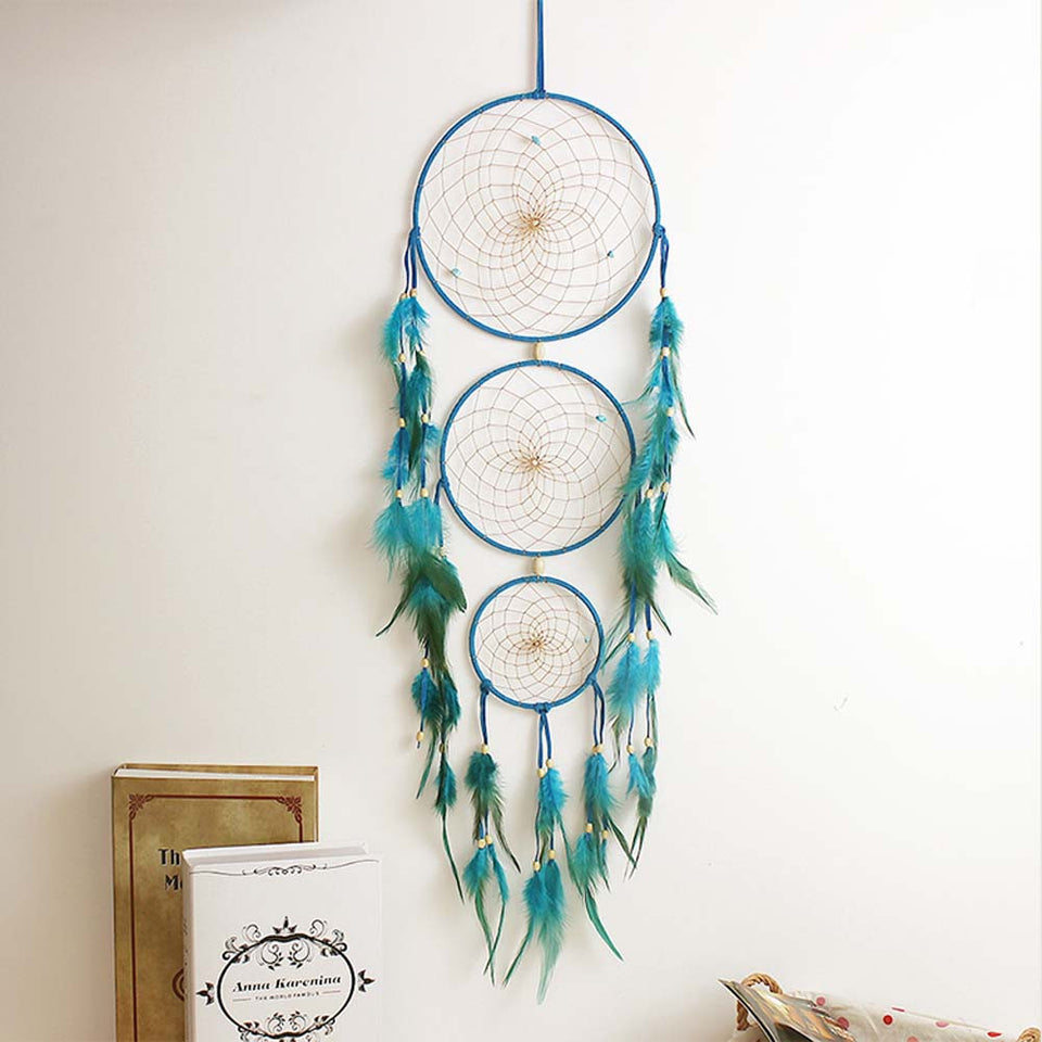 Handmade Indian Blue Dream Catcher Net with feathers Wall Hanging Dreamcatcher