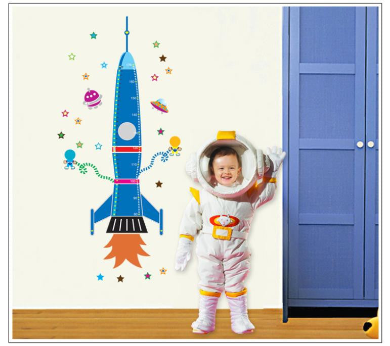 58*160CM Rocket height wall sticker for kids room Growth Chart Height Measure For Children Removable