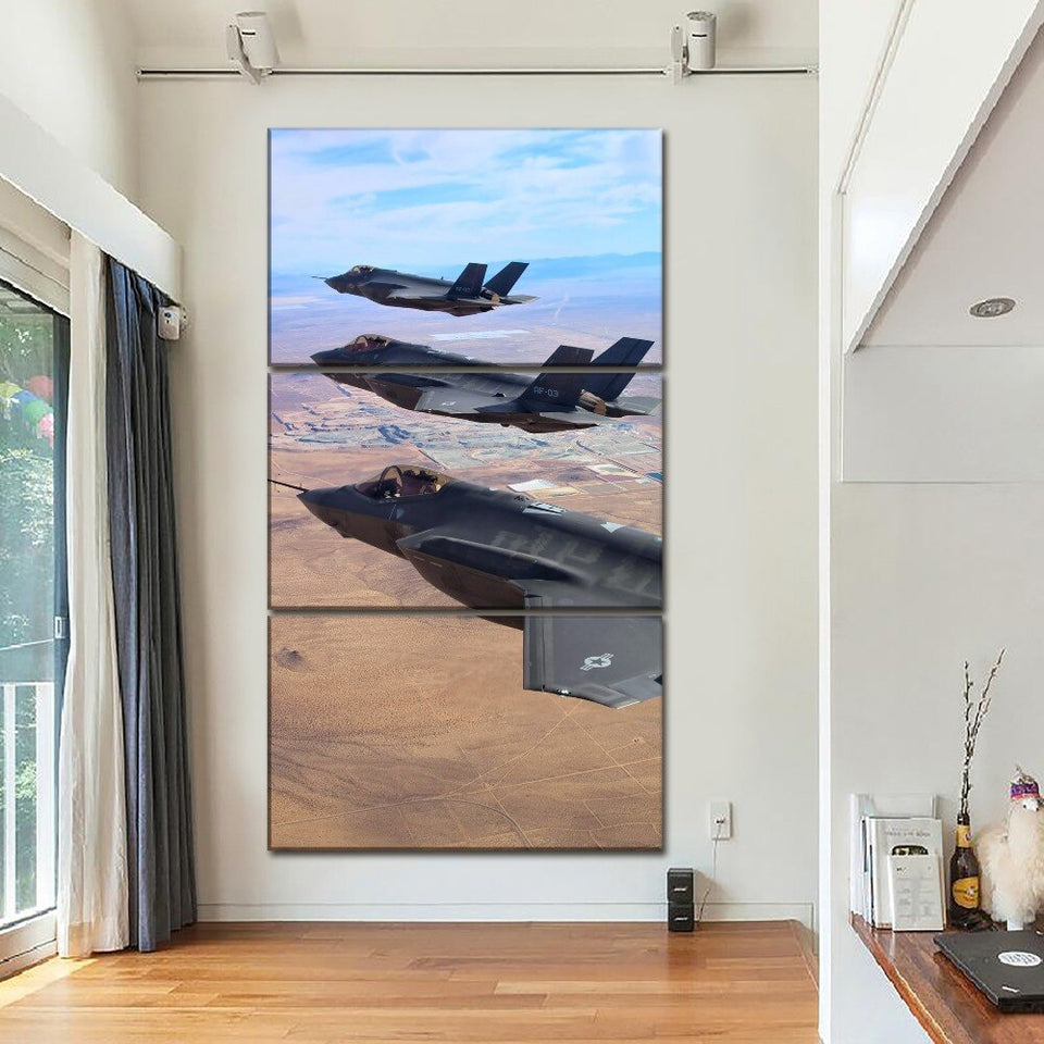 Canvas Print Modular Poster Wall Art Home Decorative 3 Pieces Military Painting Airplane Lightning Picture