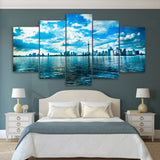 Canvas Painting Printed 5 Pieces Toronto Lake Blue Sky Wall Art Canvas Pictures Living Room Bedroom