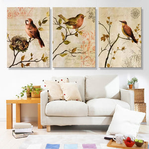 HD Printed Modern Canvas Wall Art Modular Poster 3 Panel Flowers Birds Living Room Pictures Painting