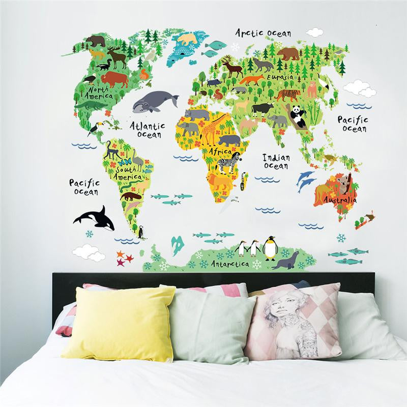 world map animals wall stickers room decorations cartoon mural art zoo children home