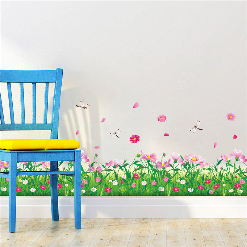 DIY wall stickers home decor Nature Colorful Flowers Grass dragonfly stickers muraux 3d Wall