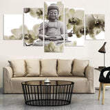 5 Panel Large Orchid Buddha Painting  Canvas Art Wall Pictures