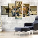 5 Pieces Painting India Elephant Hinduism Religious Wall Art Picture Gift Home Decoration Canvas Print Painting