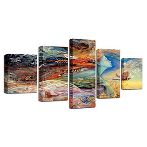 Wall Picture Canvas Painting Wall Art Print 5 Panel Abstract Woman Angle