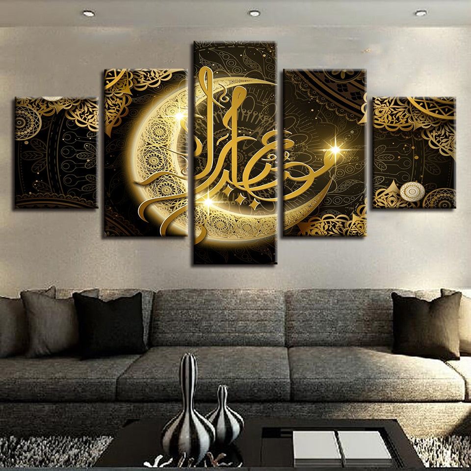 5 Piece painting Arabic Moon Islam Quote Religious Canvas Painting HD Prints Poster Pictures