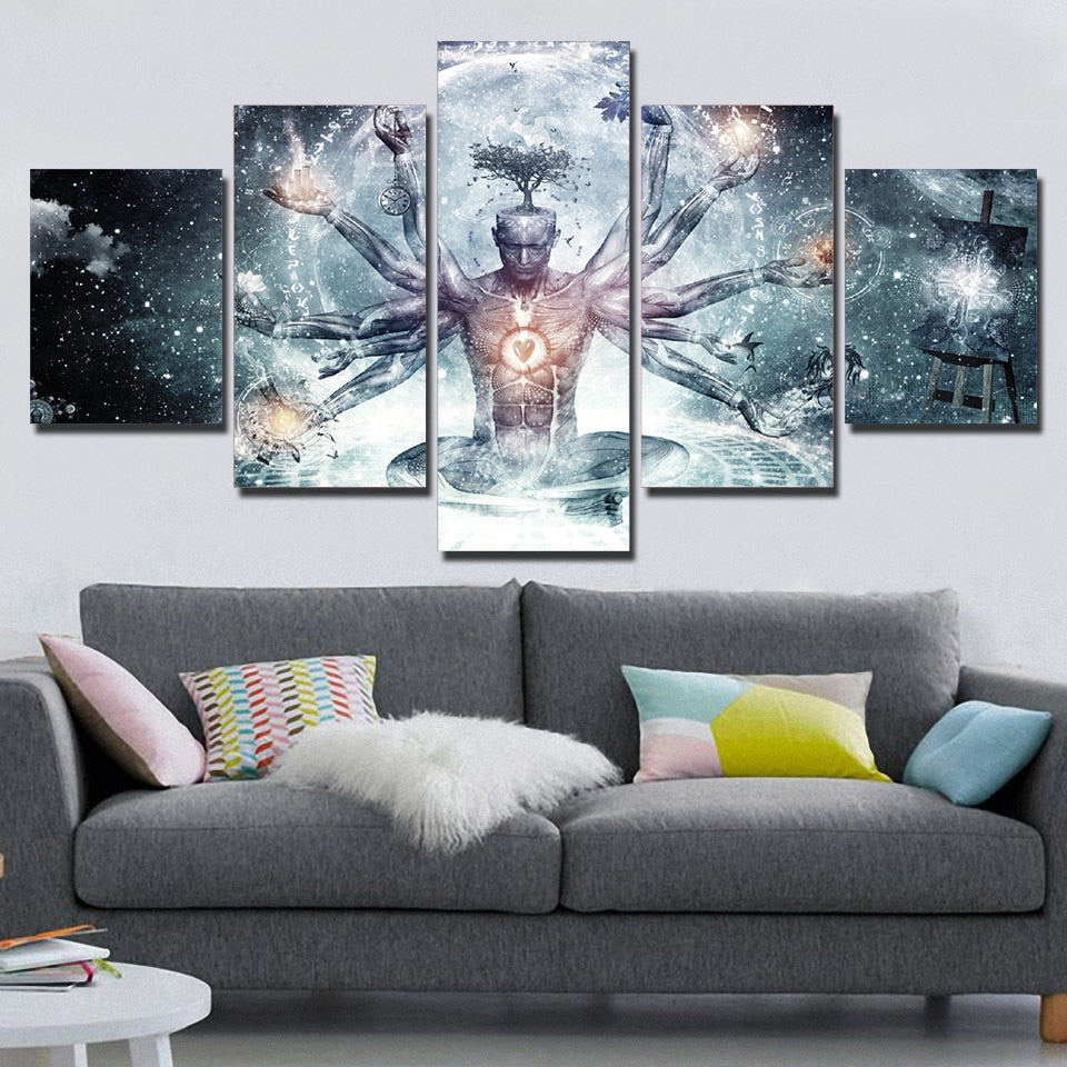 5 Piece painting Buddha in Abstract Universe Starry Sky Wall Art Print Pictures Room Decoration For Living Room