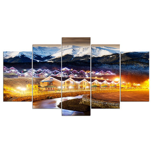 5 Panel Canvas Art Night Light Scene Paintings Wall Decor Poster Decorative Pictures
