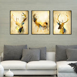 Nordic Style Art Print Modern Watercolor Abstract Gold Deer Canvas Painting Wall Animal Picture Poster