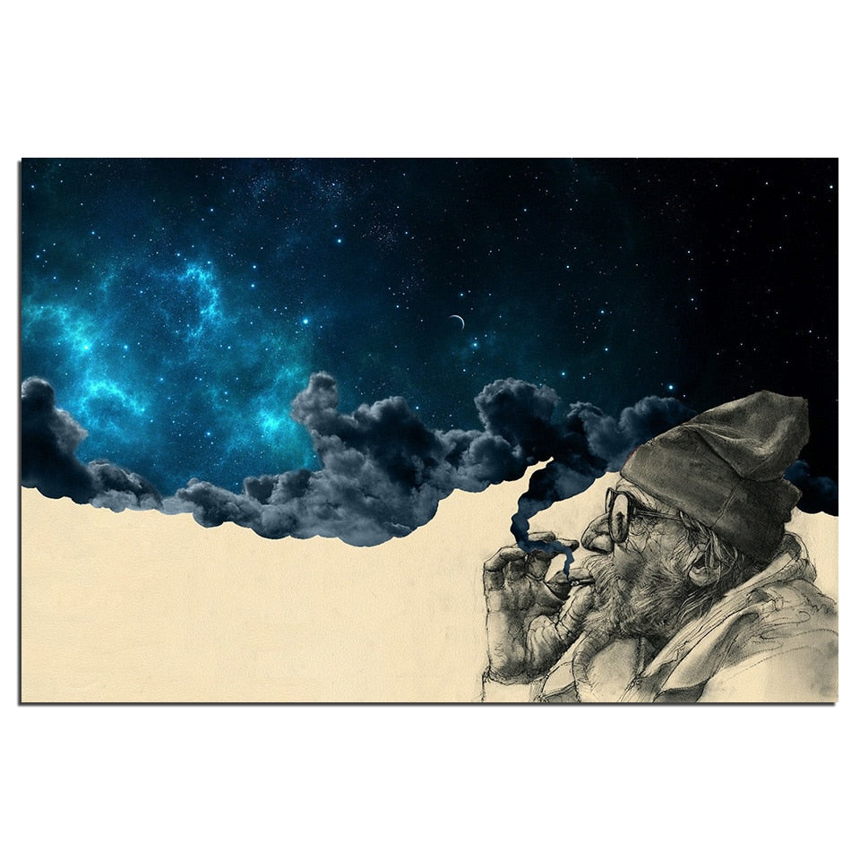 HD Print 1 Piece Canvas Art Poster Smoke and Wonder Old Man Smoking Painting Wall Art Picture