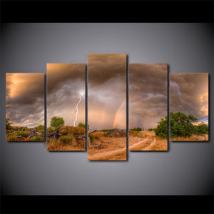 5 Piece Canvas Art HD Print Home Decor Lightning Sky Paintings For Living Room Wall Poster Picture
