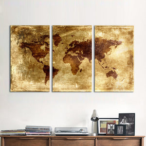 3 Pieces World Map Canvas Art Modern Painting Old style Wall Pictures Living Room Home Decor Printed