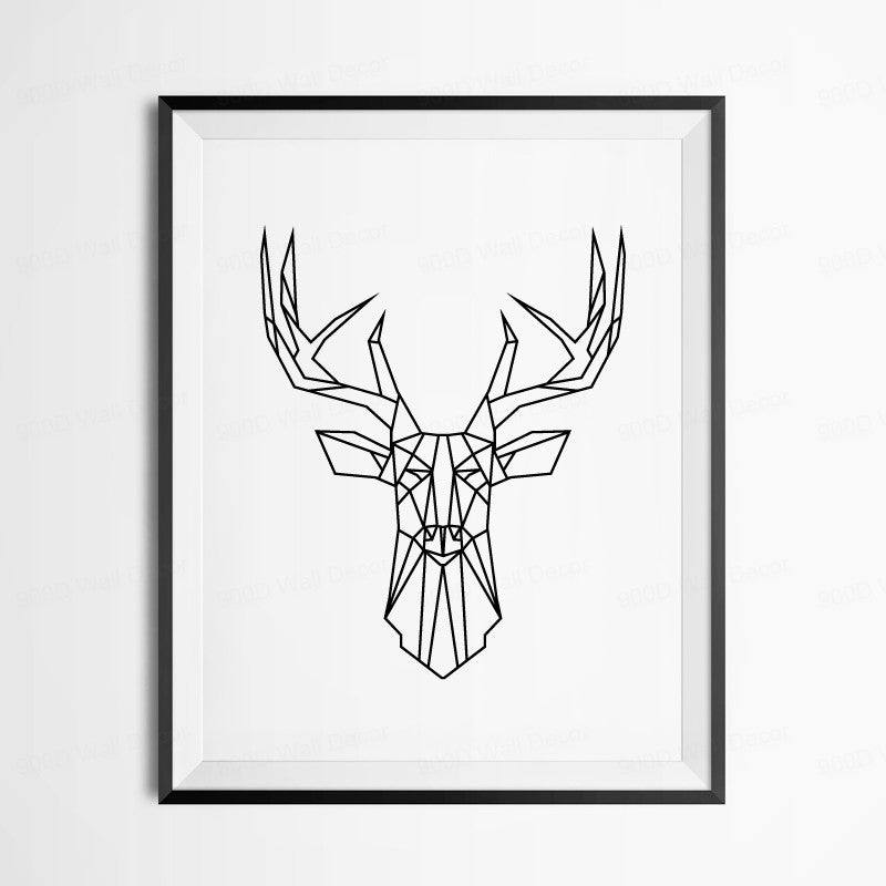 Geometric Deer Head Canvas Art Print Poster Wall Pictures Home Decoration