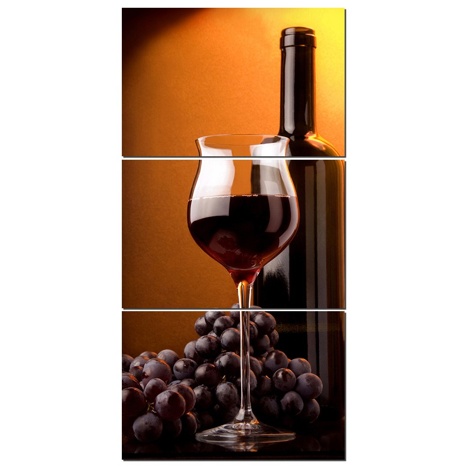 Canvas Print Pictures Wall Art Framework 3 Pieces Wine Grapes Liquor Painting Poster Modular Home Decor