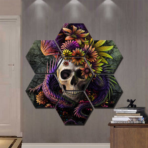 Flower Skull Print by Sunima Art HD Prints Home Decor 7 Pieces Gorgeous Halloween Theme Skull Canvas