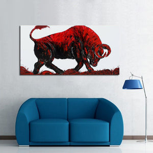 100% Handpainted Abstract Bullfighting Oil Painting On Canvas Animal Picture Wall Art Home Decor