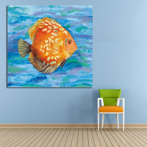 100% Handpainted Abstract Golden Fish Oil Painting On Canvas Wall Pictures Animal Paintings
