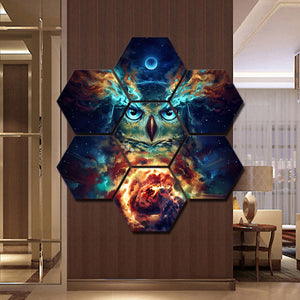 Nebowla by JoJoes Art Canvas Print Pictures Wall Art Framework 7 Pieces Night Owl Painting Poster Modula