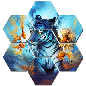 Dream Extended by JoJoes Art Modular Poster HD Prints Home Decor 7 Pieces Tiger and Gold fish Canvas Paintings Wall Art Pictures