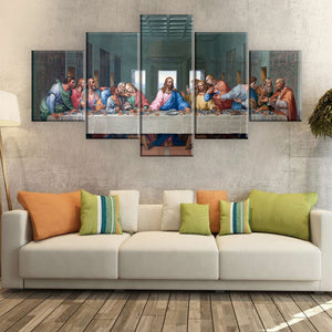 5 Panels HD Print Oil Painting The Last Supper Leonardo Da Vinci Christian Wall Pictures